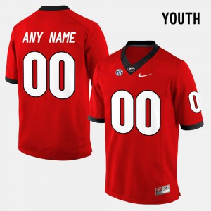 Youth Georgia #00 Red College Limited Football Custom Jerseys 211302-344
