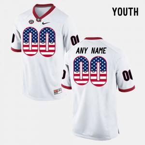 Youth(Kids) UGA Bulldogs #00 White US Flag Fashion Custom Jersey 997366-536
