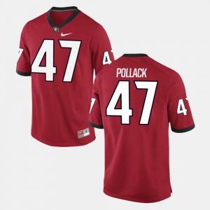 Men University of Georgia #47 David Pollack Red Alumni Football Game Jersey 874211-304