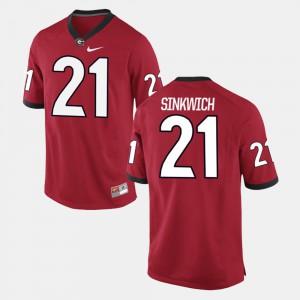Men's GA Bulldogs #21 Frank Sinkwich Red Alumni Football Game Jersey 679437-755