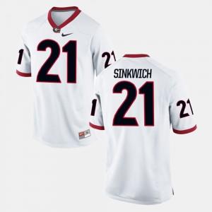 Men's UGA Bulldogs #21 Frank Sinkwich White Alumni Football Game Jersey 173759-215
