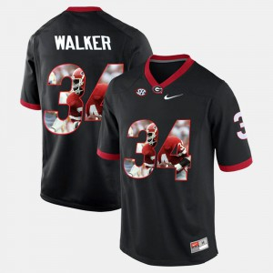 For Men's UGA Bulldogs #34 Herschel Walker Black Player Pictorial Jersey 494745-429