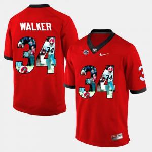For Men's Georgia Bulldogs #34 Herschel Walker Red Player Pictorial Jersey 654676-197