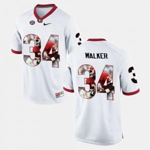 Mens Georgia Bulldogs #34 Herschel Walker White Player Pictorial Jersey 503419-780