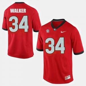 For Men University of Georgia #34 Herschel Walker Red College Football Jersey 358189-632