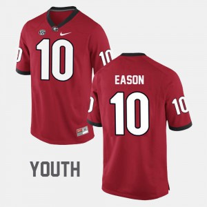 Youth Georgia #10 Jacob Eason Red College Football Jersey 947398-774