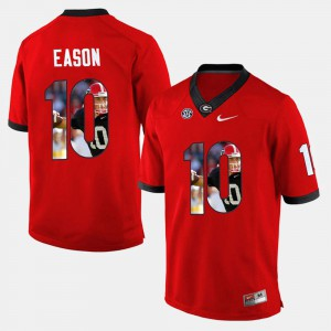 For Men University of Georgia #10 Jacob Eason Red Player Pictorial Jersey 411215-370