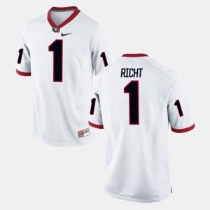 For Men UGA #1 Mark Richt White Alumni Football Game Jersey 236143-645