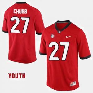 For Kids Georgia Bulldogs #27 Nick Chubb Red College Football Jersey 331814-367