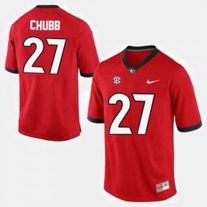 For Men's Georgia Bulldogs #27 Nick Chubb Red College Football Jersey 157365-579