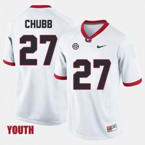 Youth Georgia Bulldogs #27 Nick Chubb White College Football Jersey 420656-806
