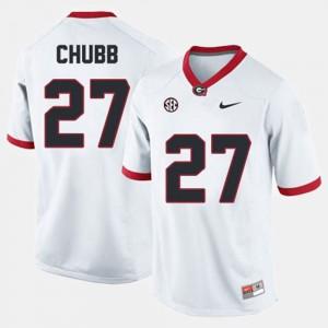 Men's GA Bulldogs #27 Nick Chubb White College Football Jersey 335812-625