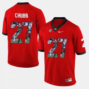 For Men Georgia Bulldogs #27 Nick Chubb Red Player Pictorial Jersey 776810-700