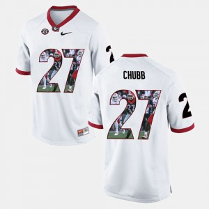 For Men UGA #27 Nick Chubb White Player Pictorial Jersey 528985-627
