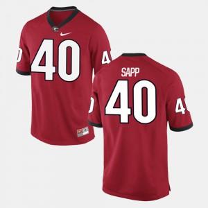 Mens UGA #40 Theron Sapp Red Alumni Football Game Jersey 969540-590