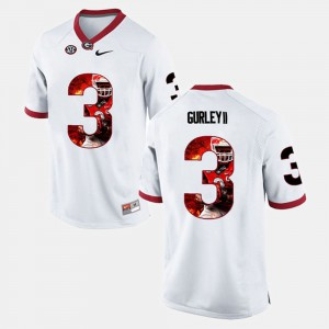 Men's Georgia #3 Todd Gurley II White Player Pictorial Jersey 308555-975