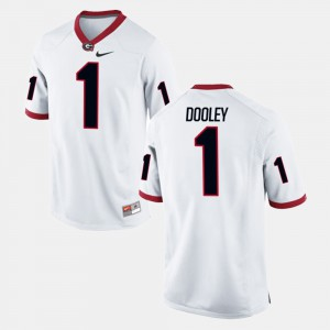 Mens GA Bulldogs #1 Vince Dooley White Alumni Football Game Jersey 761681-924