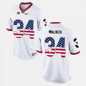 For Men's UGA #34 Herschel Walker White US Flag Fashion Jersey 463476-517