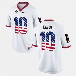Men's GA Bulldogs #10 Jacob Eason White US Flag Fashion Jersey 493040-535