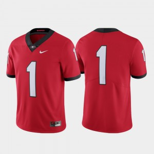 Mens Georgia Bulldogs #1 Red Limited College Football Jersey 776959-551