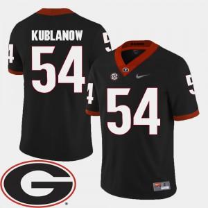 For Men's Georgia Bulldogs #54 Brandon Kublanow Black College Football 2018 SEC Patch Jersey 221096-660
