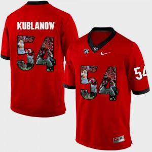 Men UGA Bulldogs #54 Brandon Kublanow Red Pictorial Fashion Jersey 141357-330