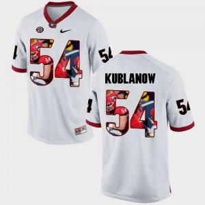 Men UGA Bulldogs #54 Brandon Kublanow White Pictorial Fashion Jersey 475723-259