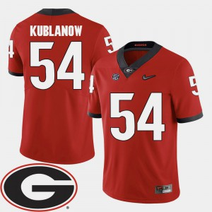 For Men University of Georgia #54 Brandon Kublanow Red College Football 2018 SEC Patch Jersey 831104-291
