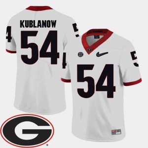For Men's UGA #54 Brandon Kublanow White College Football 2018 SEC Patch Jersey 762346-743