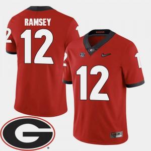 Men's Georgia #12 Brice Ramsey Red College Football 2018 SEC Patch Jersey 175007-892
