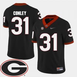 Mens UGA #31 Chris Conley Black College Football 2018 SEC Patch Jersey 156113-328