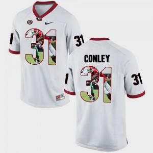 Men's Georgia Bulldogs #31 Chris Conley White Pictorial Fashion Jersey 157302-515
