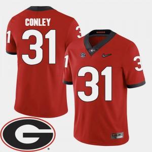 Men Georgia #31 Chris Conley Red College Football 2018 SEC Patch Jersey 442750-613
