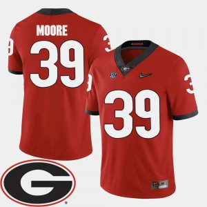 For Men Georgia Bulldogs #39 Corey Moore Red College Football 2018 SEC Patch Jersey 449046-551