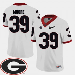 Mens Georgia Bulldogs #39 Corey Moore White College Football 2018 SEC Patch Jersey 275376-514