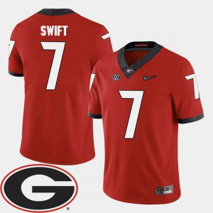 For Men University of Georgia #7 D'Andre Swift Red College Football 2018 SEC Patch Jersey 996061-191
