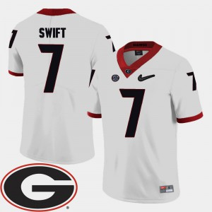 For Men's UGA #7 D'Andre Swift White College Football 2018 SEC Patch Jersey 249391-351