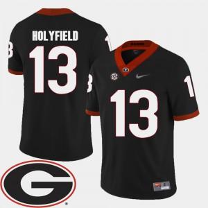 For Men's GA Bulldogs #13 Elijah Holyfield Black College Football 2018 SEC Patch Jersey 771081-672