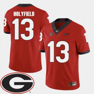 Mens Georgia #13 Elijah Holyfield Red College Football 2018 SEC Patch Jersey 507143-393