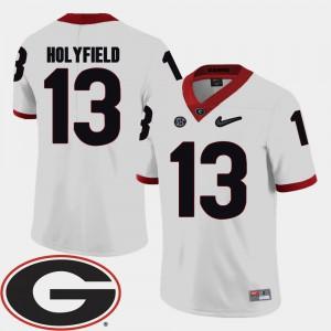 Men UGA #13 Elijah Holyfield White College Football 2018 SEC Patch Jersey 170128-607