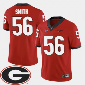 For Men's Georgia Bulldogs #56 Garrison Smith Red College Football 2018 SEC Patch Jersey 324653-184