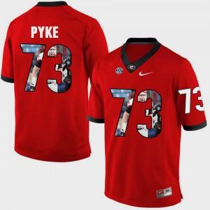 Mens UGA #73 Greg Pyke Red Pictorial Fashion Jersey 148546-440