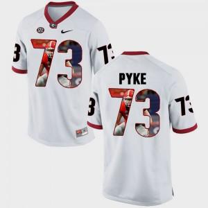 For Men's University of Georgia #73 Greg Pyke White Pictorial Fashion Jersey 116980-970