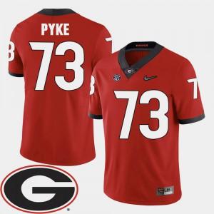 Men UGA Bulldogs #73 Greg Pyke Red College Football 2018 SEC Patch Jersey 915460-808