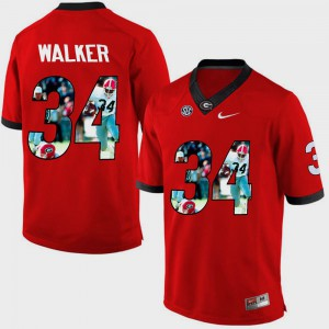 Mens UGA Bulldogs #34 Herschel Walker Red Pictorial Fashion Jersey 318049-527