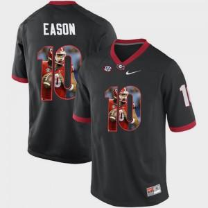 Men University of Georgia #10 Jacob Eason Black Pictorial Fashion Jersey 252536-277