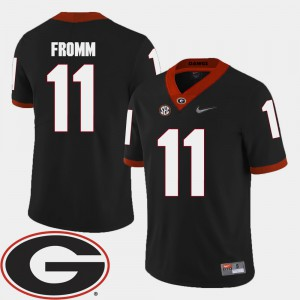 For Men's University of Georgia #11 Jake Fromm Black College Football 2018 SEC Patch Jersey 518058-250