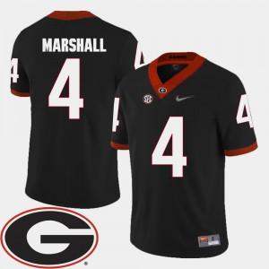 Mens GA Bulldogs #4 Keith Marshall Black College Football 2018 SEC Patch Jersey 237549-517