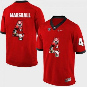 Mens UGA #4 Keith Marshall Red Pictorial Fashion Jersey 306908-359