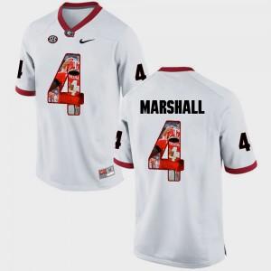For Men Georgia Bulldogs #4 Keith Marshall White Pictorial Fashion Jersey 718051-275